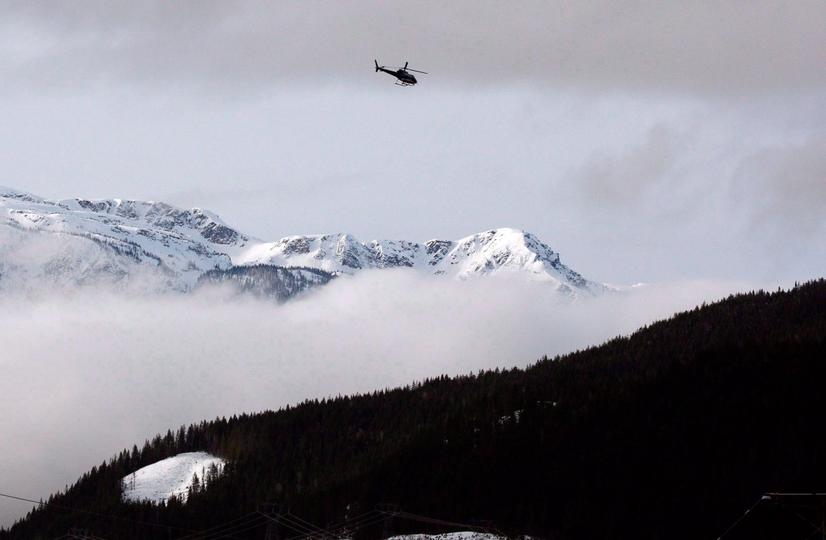 A 2010 file photo of a search and rescue helicopter near Revelstoke.