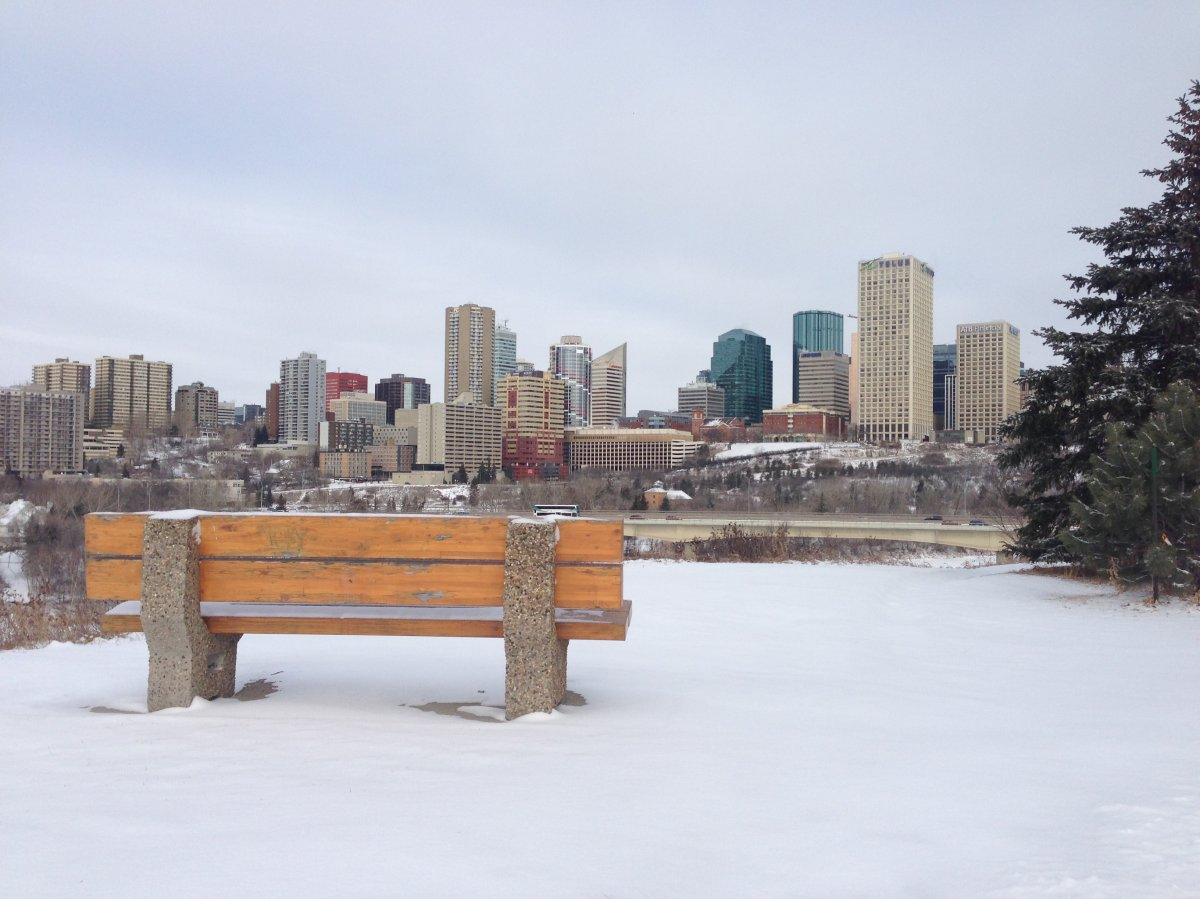 A scenic view of downtown Edmonton, taken from a lookout on the south side of the North Saskatchewan River near Scona Road. February 29, 2016.