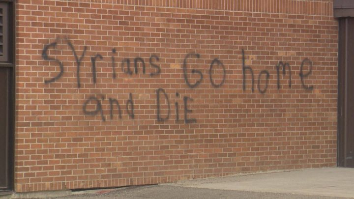 Racist hate graffiti sprayed on a Calgary school.