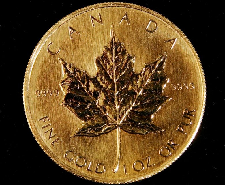 A one-ounce gold Canadian Maple Leaf coin is shown in 2005.  Canada has recently sold half its gold reserves.