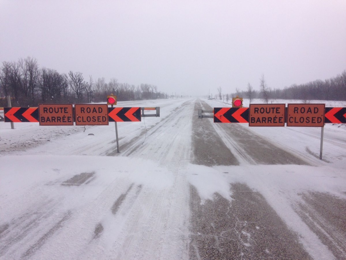 Strong winds caused multiple highway closures around Winnipeg.