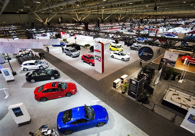 Vehicles are on display at the at the 2016 Canadian International Autoshow in Toronto on Thursday, February 11, 2016.