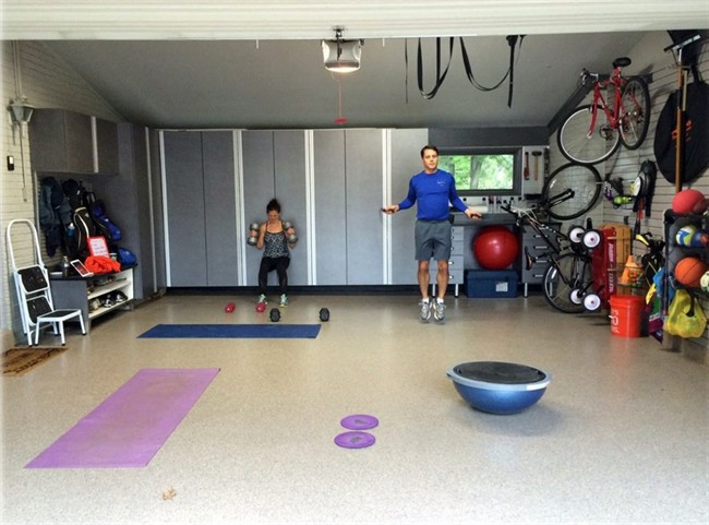 Todd Carter of Tailored Living featuring Premier Garage decided to clean up the a messy garage space to make it more attractive and useful. Carter added wall storage systems and flooring to transform the space into a workout room.