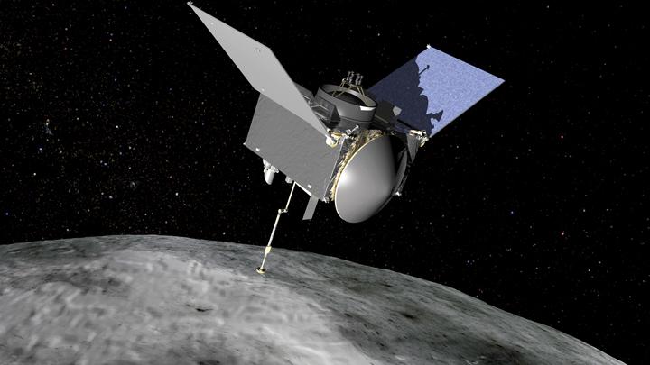 In this artist's rendering, OSIRIS-REx is seen nearing Bennu.