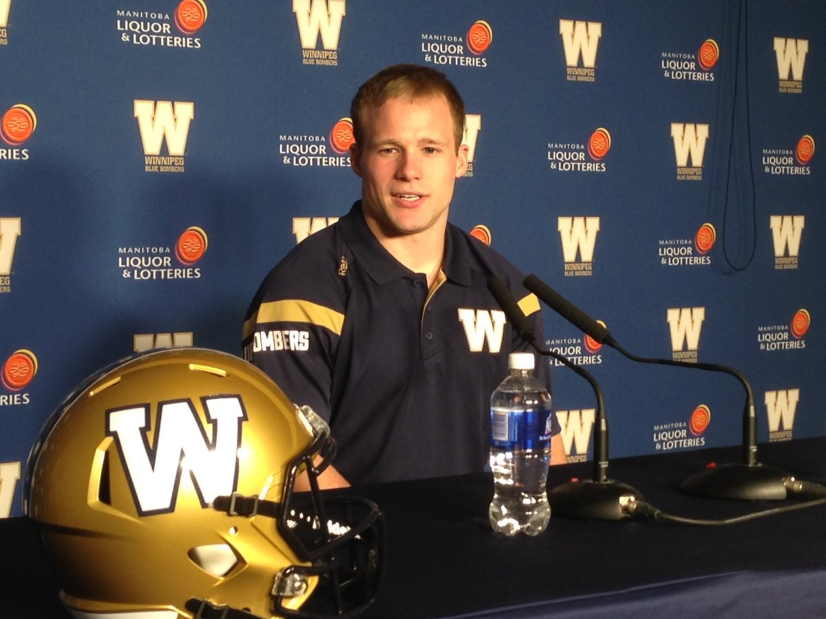 New Blue Bombers Receiver Ryan Smith is introduced to the media on Wednesday.