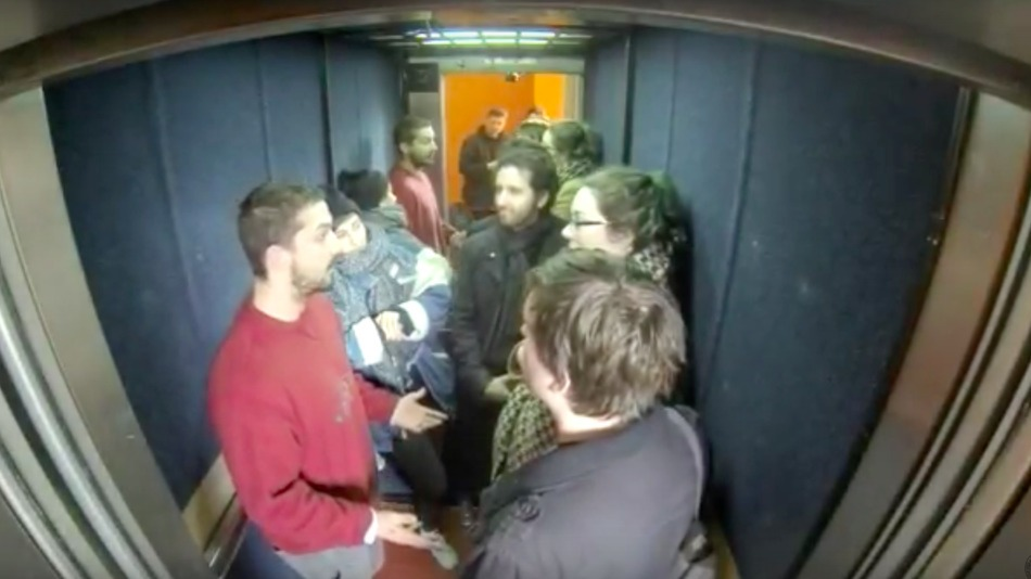 Shia LaBeouf in an elevator at Oxford University