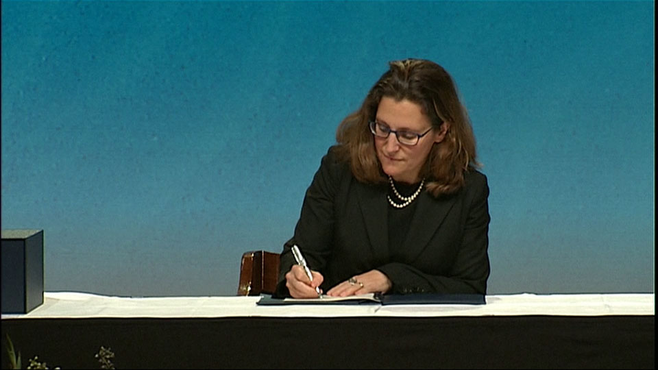 Chrystia Freeland, Canada's minister of international trade, was in New Zealand to sign the Trans-Pacific Partnership deal.