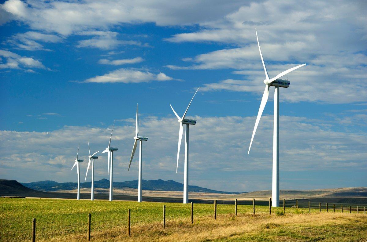 Wind energy turbine generators at the Summerview Wind Farm near Pincher Creek, Alberta.