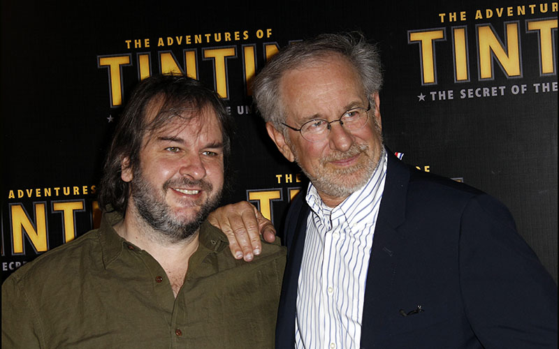 Peter Jackson and director Steven Spielberg attending a screening of 'The Adventures of Tintin: The Secret of the Unicorn' on July 19, 2011.  Both Spielberg and Jackson support the startup Screening Room which would bring first-run films directly into your home.