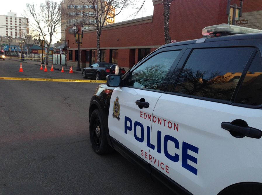 Police investigating after it was reported shots were fired outside a bar near 81 Avenue and 105 Street, March 27, 2016.