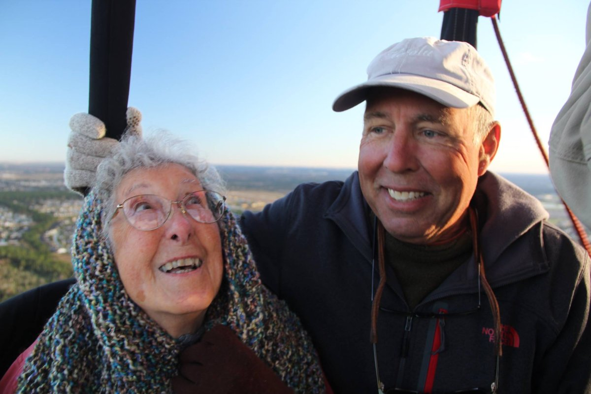 Norma and her son Tim ride a hot air balloon in Florida.