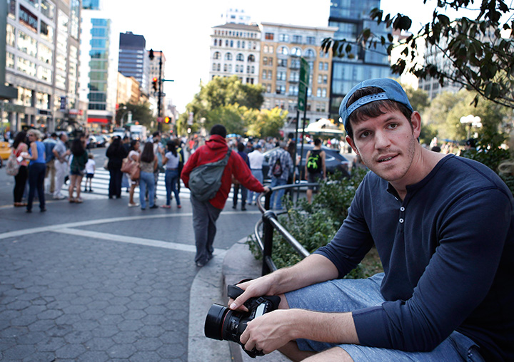 This Oct. 2, 2013 photo shows street portrait photographer Brandon Stanton near Union Square in New York.