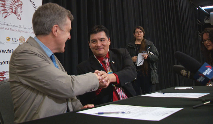 FSIN and Canadian Light Source sign agreement in Saskatoon to enhance First Nation learning in the field of science.
