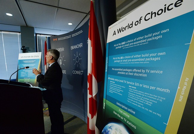 CTRC Chairman Jean-Pierre Blais speaks to media at the CRTC offices in Gatineau, Que., on March 19, 2015.