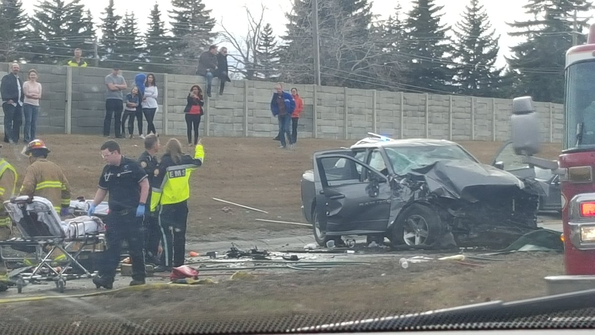 Crash on Glenmore Trail and Crowchild Trail March 27, 2016.