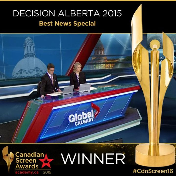 Gord Gillies and Nancy Carlson sit behind the desk for Decision Alberta, Global News' coverage of the historic 2015 election in Alberta.
