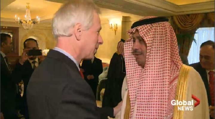 Foreign Affairs Minister Stephane Dion greets Saudi Ambassador Alsudairy at a recent dinner in Ottawa,.