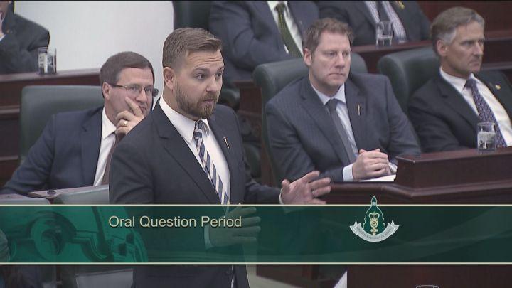 Opposition finance critic Derek Fildebrandt speaks during question period at the Alberta legislature on Wednesday, March 9, 2016.