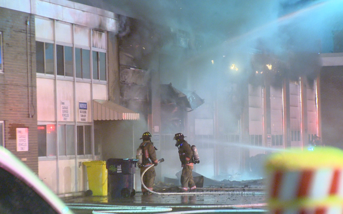 Toronto Fire Services work on a two-alarm fire at a municipal operations yard in Scarborough on March 15, 2016.