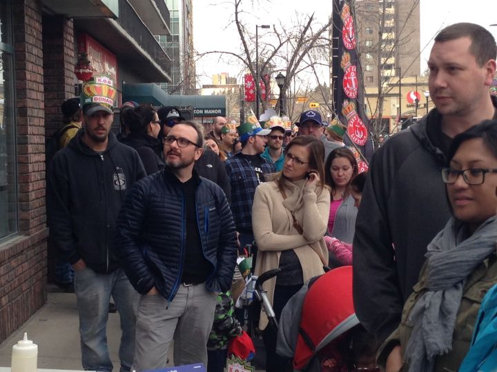 The lineup sprawled across two blocks at the King of Donair pop-up in Calgary's Kensington neighbourhood March 4, 2016.
