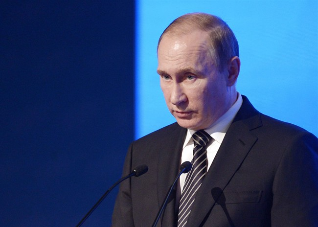 Russian President Vladimir Putin speaks at a meeting of the Russian Chamber of Commerce in Moscow, Russia, Tuesday, March 1, 2016. (Alexei Nikolsky/Sputnik, Kremlin Pool Photo via AP).
