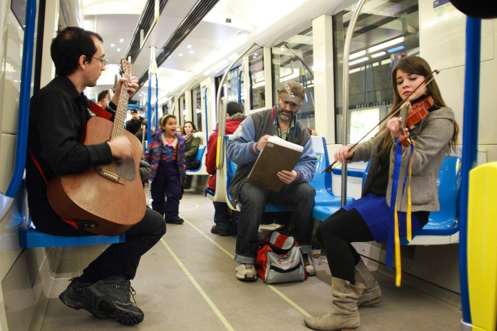 Musicians play live music on the AZUR Metro train in Montreal, Que., Feb. 6, 2016.