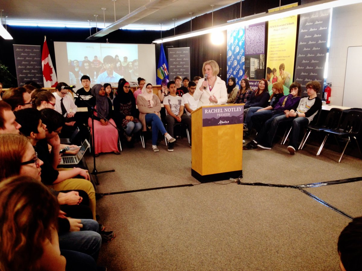 Alberta Premier Rachel Notley holds a virtual town hall with students to discuss the climate, Wednesday, March 16, 2016.