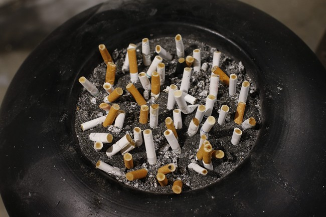 Smoked cigarettes in an ash tray.
