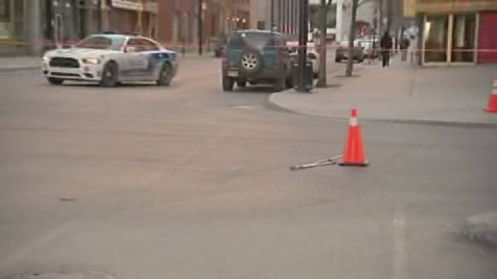 Last year, Montreal police were at the scene of a downtown collision involving a car and a pedestrian. Saturday, March 19, 2016.