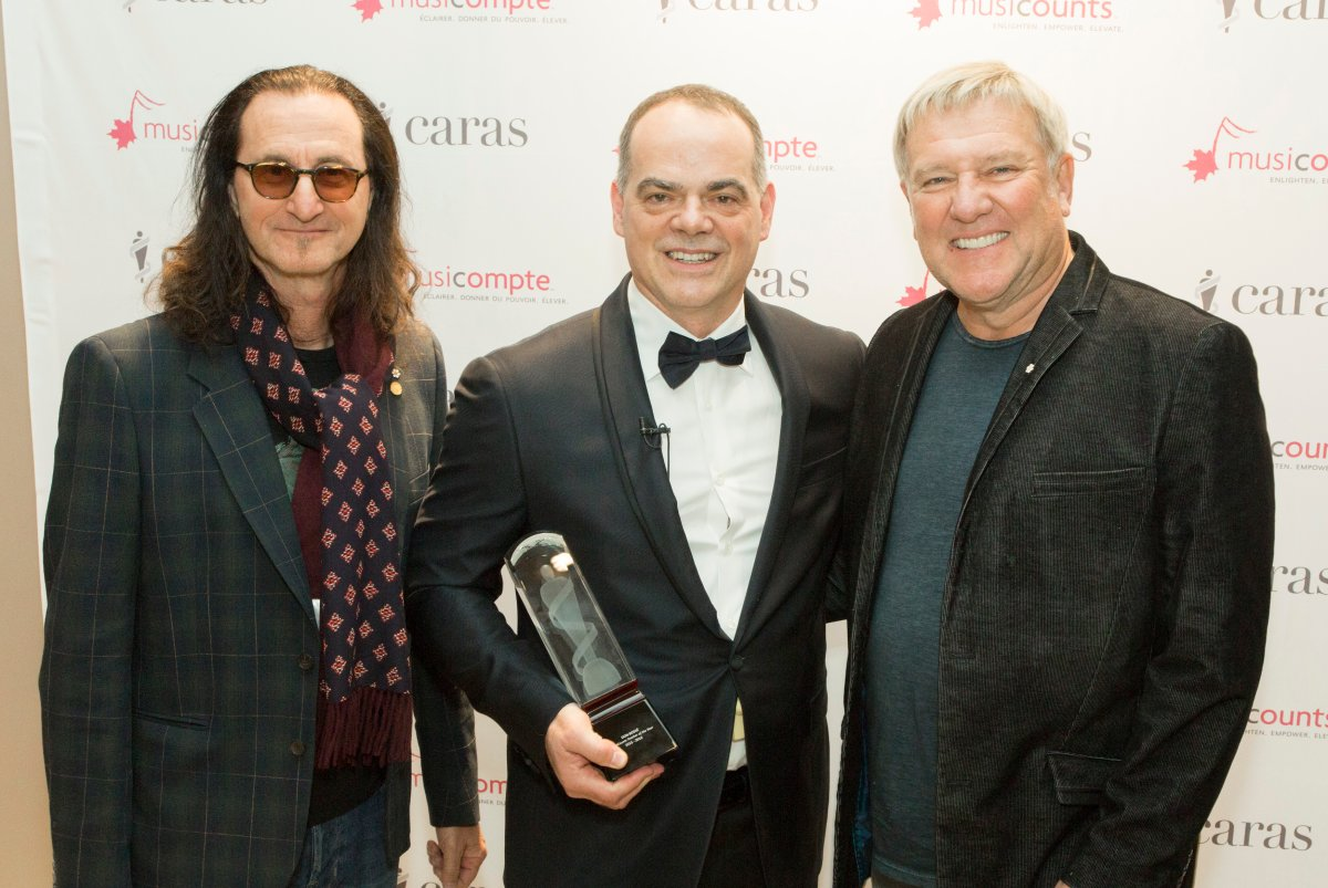 Don Bossé, centre, is seen here with Rush's Geddy Lee and Alex Lifeson.