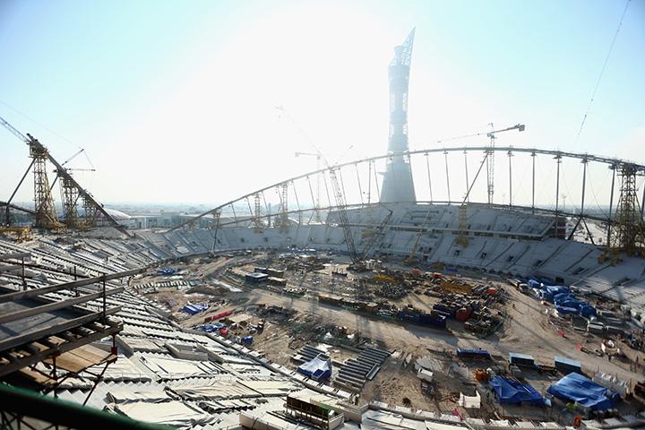 Construction work continues on Khalifa International Stadium ahead of the 2022 FIFA World Cup Qatar on December 30, 2015 in Doha, Qatar.
