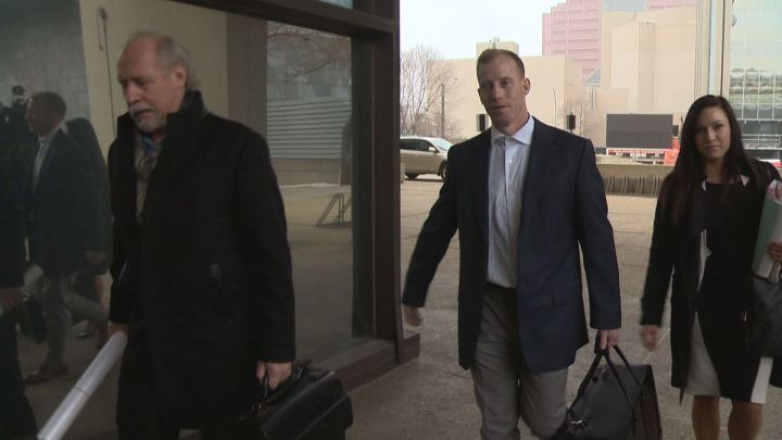 Travis Vader heads into court in Edmonton for day one of his first-degree murder trial Tuesday, March 8, 2016.