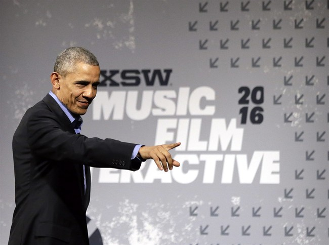 President Barack Obama waves to the audience after taking part in a South by Southwest Interactive, Friday, March 11, 2016, in Austin, Texas.
