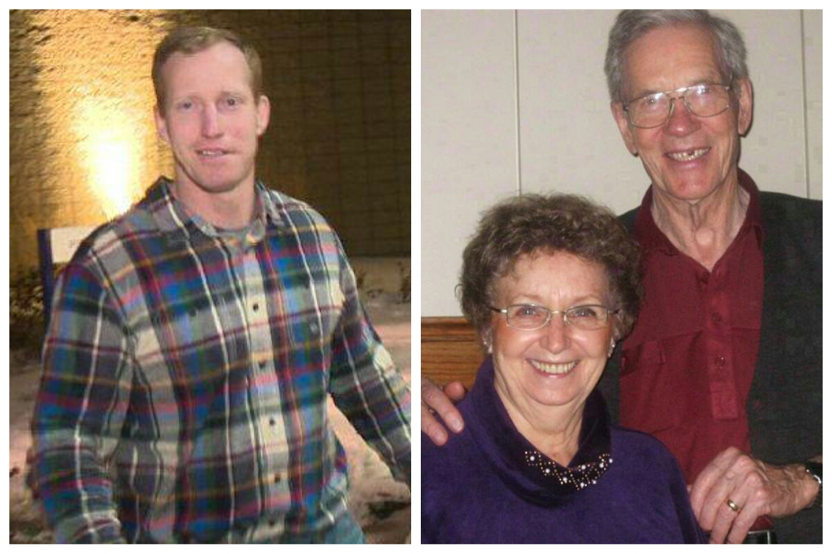 LEFT: Travis Vader walks out of the Edmonton Remand Centre in Decemeber 2014. RIGHT: Lyle and Marie McCann are shown in an undated handout photo.