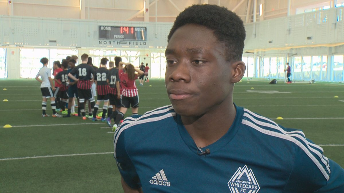Alphonso Davies, 15, started playing soccer at a young age.
