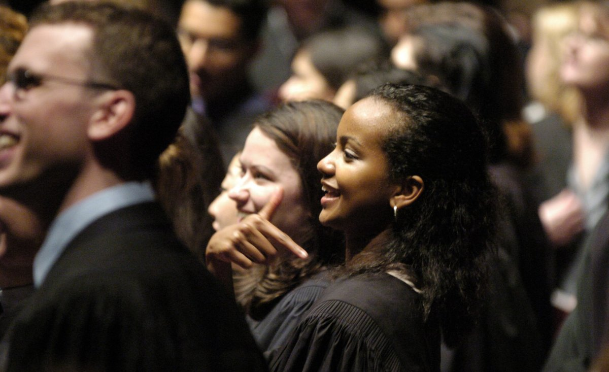 Fahima Osman receives her Doctor Of Medicine at McMaster University's Faculty of Health Sciences convocation on May 14, 2004. Research indicates the gap between women's and men's pay grows among higher-earning, higher-achieving groups.