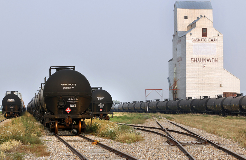 Rail tanker cars used to transport crude oil are seen in Shaunavon, Saskatchewan on August 27, 2015.