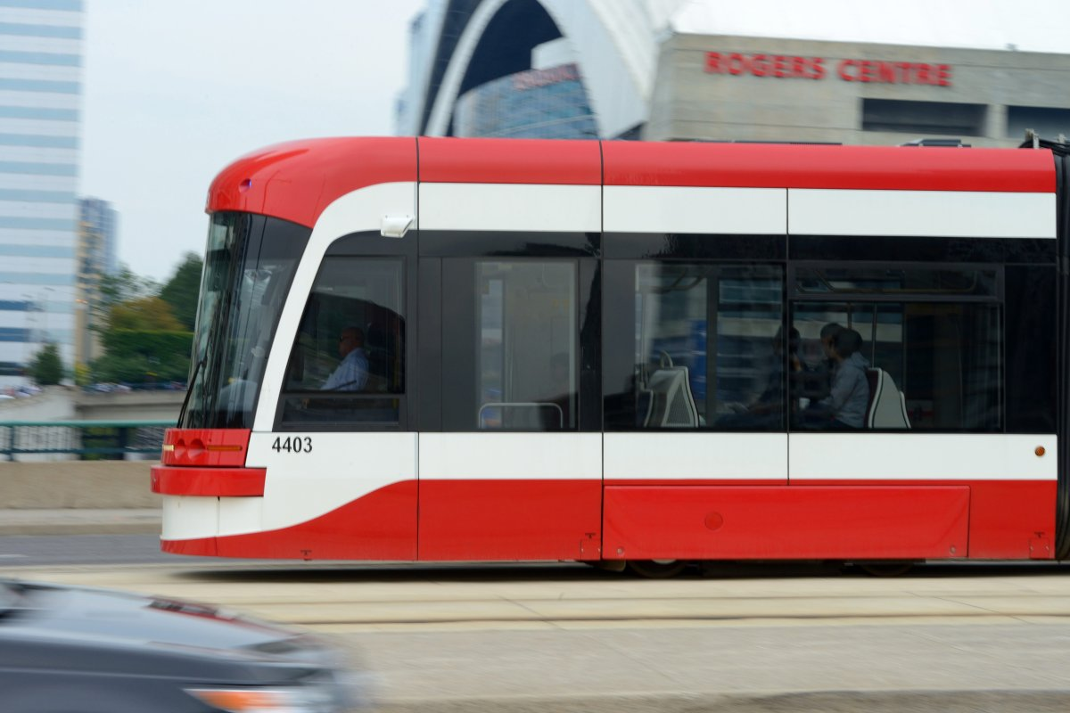 The TTC's new Bombardier Flexity low-floor light rail vehicle, also called a streetcar locally, is pictured riding along Spadina Avenue, in Toronto on August 29, 2015. The city has said it's considering suing Bombardier because of its tardiness in delivering these streetcars.