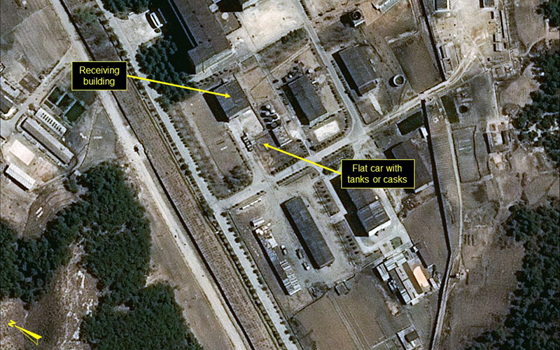 In this image provided by 38 North, shows a rail flatcar at radiochemical laboratory where North Korea separates weapons-grade plutonium from waste from a nuclear reactor. U.S. researchers see further signs from satellite imagery that North Korea is looking to produce more plutonium for nuclear weapons.