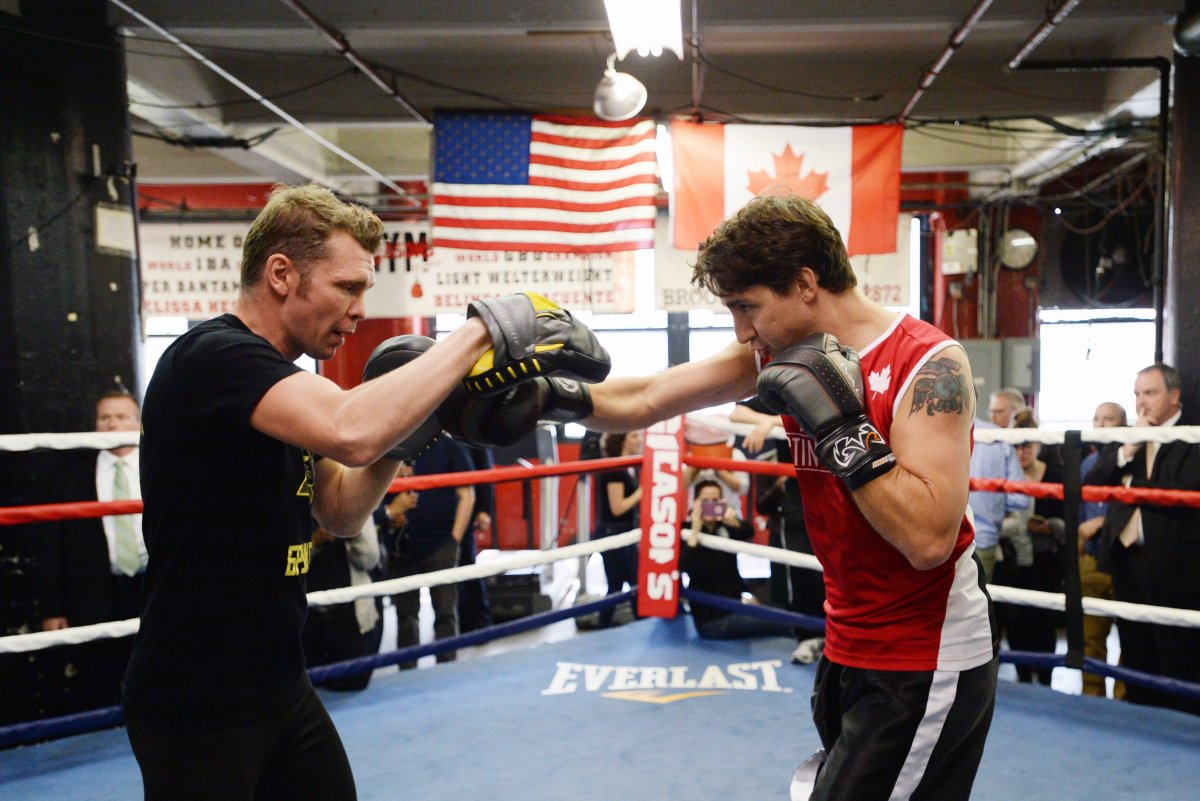 """Prime Minister Justin Trudeau spars with professional boxer Yuri Foreman at the Gleason's Boxing Gym in Brooklyn, New York on Thursday, April 21, 2016. Trudeau was there to train with kids from the """"Give A Kid A Dream"""" program that works to provide mentorship to disadvantaged youths through the sport of boxing."""