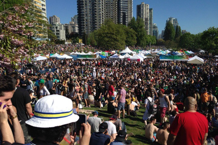 A huge crowd gathered at Sunset Beach for 4/20.