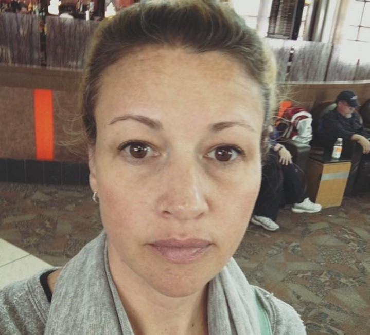 Annick Robinson posted a picture of herself at Calgary Airport after her conversation with the salesman, Saturday, April 9, 2016.
