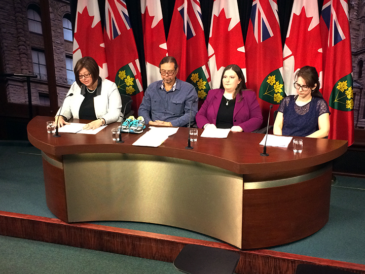 MPP Monique Taylor holds a press conference on changes to autism services in Ontario with Dr. James C. K. Porter and parents Heather Bourdon and Kirsten Ellison on April 12, 2016.