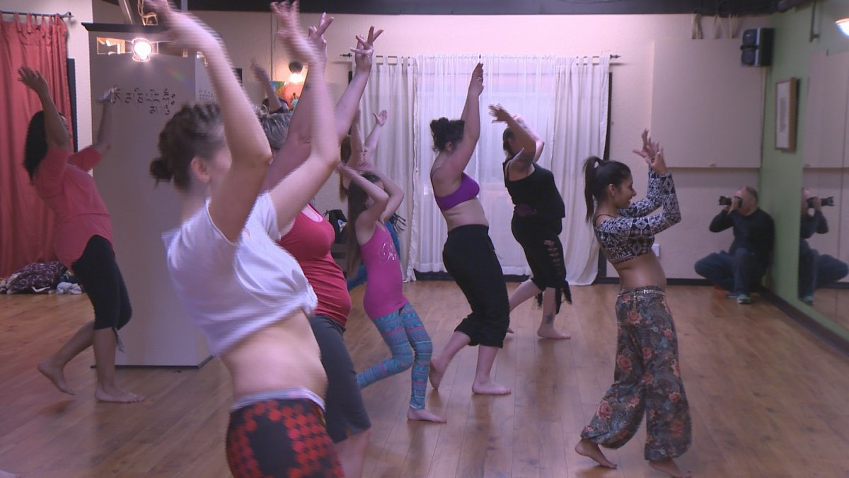 A belly dancing workshop at Get Bent Yoga and Dance in Penticton on Sunday.