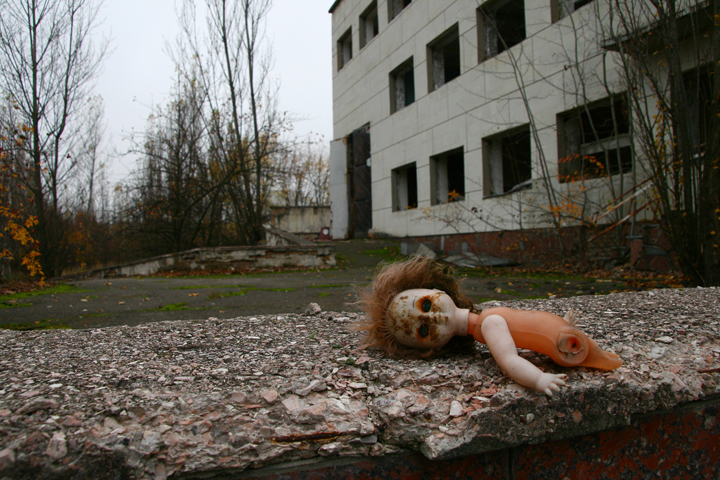 A doll is left out in Pripyat, the town evacuated near Chernobyl.