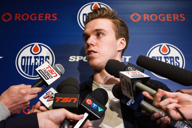 Edmonton Oilers forward Connor McDavid speaks to reporters during the Edmonton Oilers' end-of-the-year press conference in Edmonton, Alta., on Sunday, April 10, 2016.
