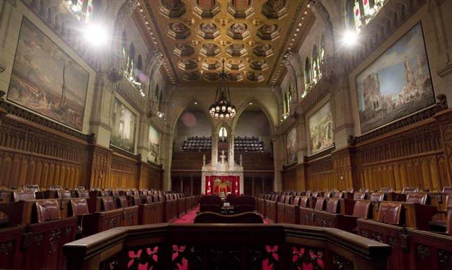 The Senate chamber sits empty on September 12, 2014 in Ottawa.