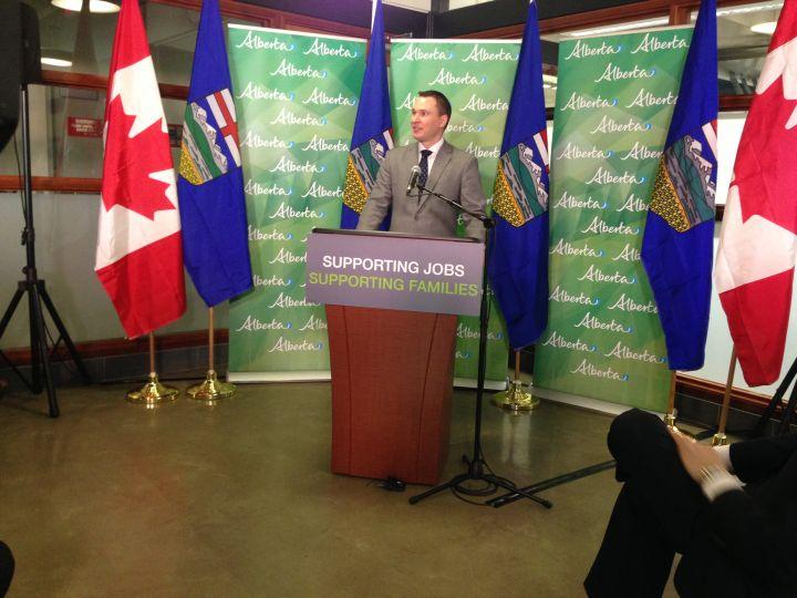 Economic Development and Trade Minister Deron Bilous makes an announcement in Edmonton Monday, April 11, 2016.