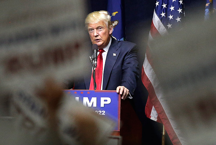 Republican presidential candidate Donald Trump speaks during a campaign rally, Wednesday, April 6, 2016, in Bethpage, N.Y.