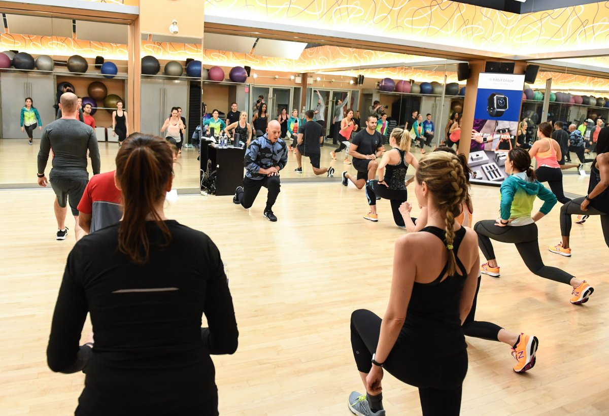 Harley Pasternak leads a workout in Toronto on March 31, 2016.